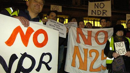 The No25 Group opposed to the proposed Norwich Northern Distributor Road demonstrating outside City