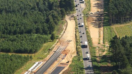 Aerial views of the A11 works. Photo: Mike Page