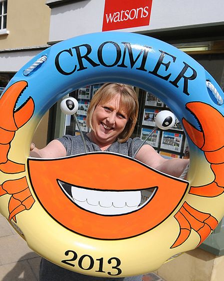 The Lovely Lifebuoy Art Trail. Caroline Lake, manager of Watson's estate agents in Cromer.PHOTO: ANT