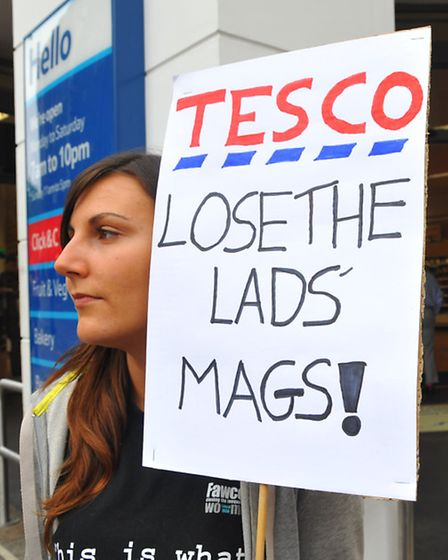 Raising awareness of their feelings about Lad Mags, Anna Sanders, left and Florence Goddard and fell