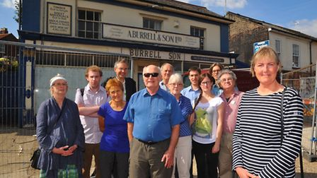 Denise Carlo and fellow objectors to the planned demolition of the former Burrell's shop on Unthank