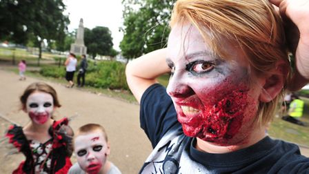 Undead fans dress-up and take part in a charity Zombie walk through Yarmouth.Abi Knight.