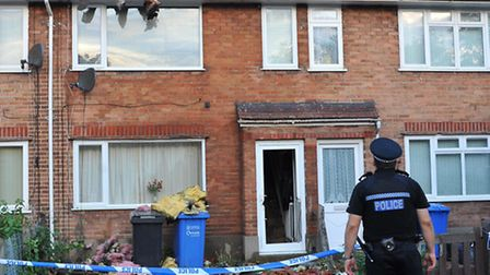 Aftermath of the house fire in Beverley Road, Norwich, on Saturday night.Photo: Bill Smith