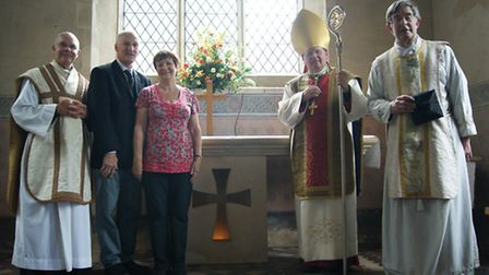 Father Colin Patterson from London, Cliff and Jacqueline Amos who saved the church, Bishop Norman Ba