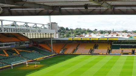 New improvements at Carrow Road for the start of the new season. The view from the new media gantry.