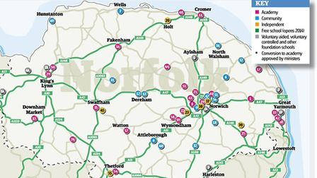 Map showing the different types of secondary schools in Norfolk