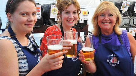 Fat Cat brewery festival. From left: Letty Wickens, Laura White and Rebecca White.Photo: Bill Smith