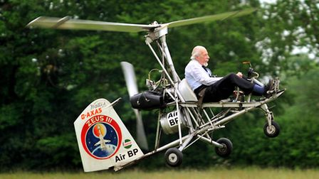 Wing Commander Ken Wallis taking off in one of his collection of autogyros in 2010.