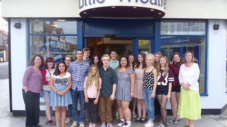 Youngsters at Sheringham Little Theatre's Outreach groups celebrating the success of members going o