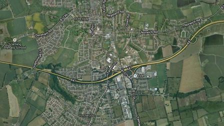Google map view of Dereham where police are cracking down on boy racers