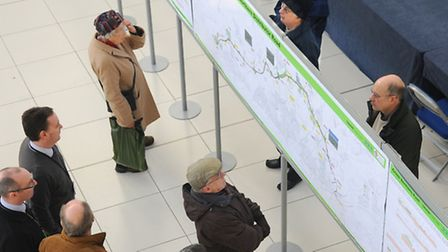 Members of the public study plans for the NDR, on display at the Forum. Picture: Denise Bradley