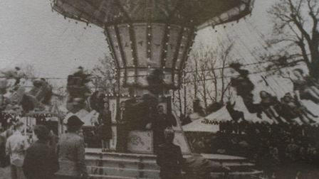"""The """"Chair-o-Planes"""" fairground ride owned by Louisa Prestney's family in the 1940s."""
