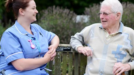 Ray Smith and bank nurse Claire Cross at The Norfolk Hospice Tapping House in Snettisham. Picture: I