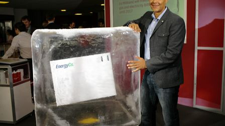 Clive Lewis was among many candidates who lined up to have their picture taken with the ice block