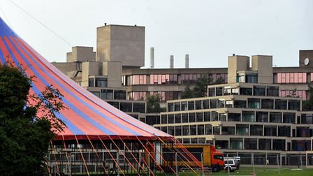 Marquees going up in front of the iconic ziggurats in readiness for the UEA's 50th anniversary celeb