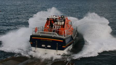 Cromer lifeboat during a launch