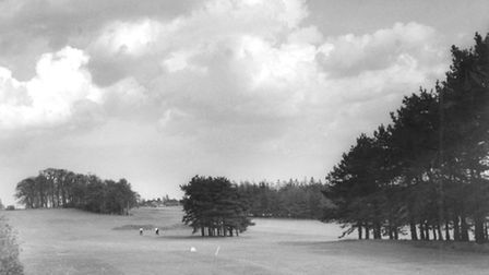 The view towards the clubhouse along the eighth and fifth fairways of the Earlham golf course in May