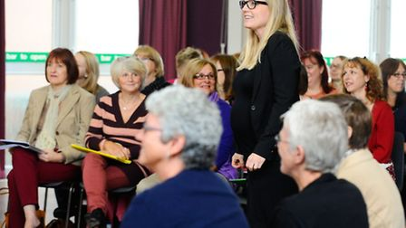 West End star Kerry Ellis visiting Discord singing group in Diss for a workshop at the weekend. Pict