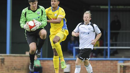 Dan Jacob, challenging the 'keeper, could feature at Chorley today. Picture: Matthew Usher.