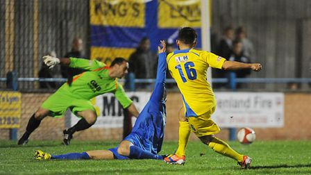 Steve Spriggs misses the target at The Walks during Tuesdays 4-0 loss to Matlock Town. Picture: Ian