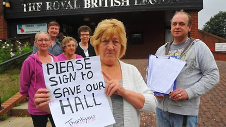 The Jubillee Hall, Aylsham Road, Norwich that is under threat of closure . Angela Laing, centre with