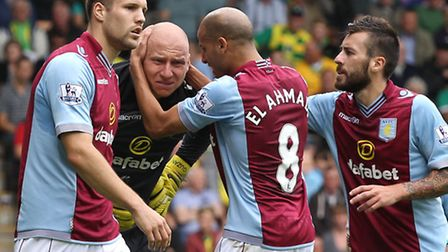 Aston Villa keeper Brad Guzan takes the plaudits after denying Gary Hooper in the 88th minute of Nor