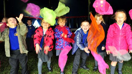 Youngsters from Caister Infants school take part in circus skills with The Circus Ferrel