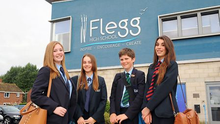 Pupils from the student leadership team at Flegg High School in Martham showing off the schools new