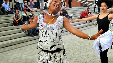 Anna Mudeka bringing Zimbabwean dancing to the Festival of Cultures at The Forum in Norwich. Photo: