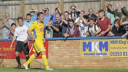 Action from King's Lynn Town v Marine at The Walks - Lynn's Phil Gulliver celebrates scoring. Pictur