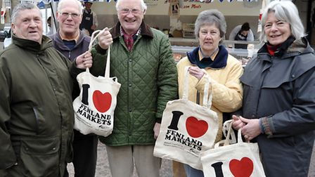 Fenland district council Love your market campaign, Left: Cllr Pop Jolley, John Orbell, Mike Wakeham