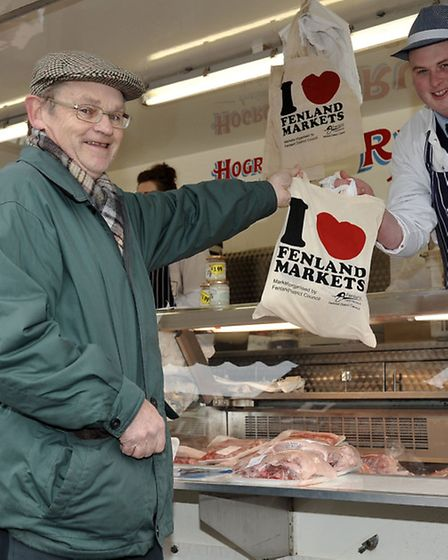 Fenland district council Love your market campaign, Michael Leeden takes his meat from Tom Russell.
