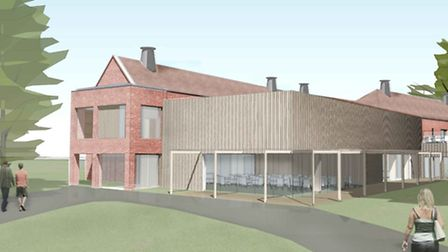 An impression of the proposed new sixth-form centre, showing the café, at Gresham's School, Holt. Pi