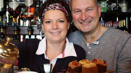 Publicans Sarah Jeans and Jason Bumphrey, who hosted a coffee morning at the Foundry Arms, Northrepp