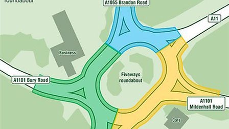This graphic shows when the closures on the Fiveways roundabout will take place.Weekend one: No acce