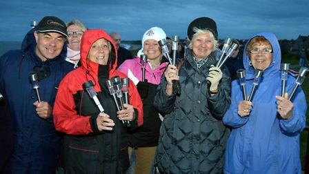 Solar Stroll along Pakefield cliffs,Walkers with their solar lanterns. PICTURES: Mick Howes