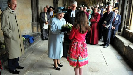 The Queen, accompanied by the Duke of Edinburgh visiting Norwich Cathedral for a special service cel