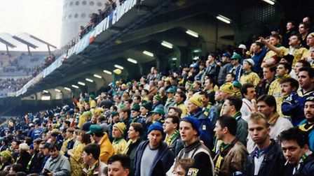 Norwich City fans inside the San Siro. Picture: Martin Thirkettle