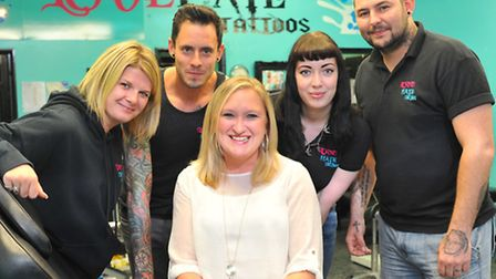 Sarah Harmer with the team from Love / Hate tattoos at Catton Grove. From left: Michelle Mayhew, Ste