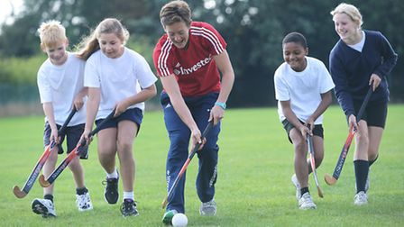 Olympian Hannah McLeod with pupils at St Martha's Primary School in King's Lynn. Picture: Ian Burt