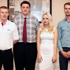 NMG Kias Michael Long, second left, who won the after sales apprentice award and Darrell Delaney, ri