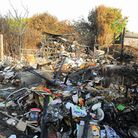 Burnt out remains in a rear garden at Beck Avenue in Ormesby St Margaret.Picture: James Bass