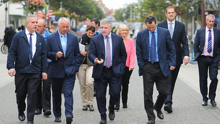 Housing and government minister Mark Prisk MP having a brief tour of Lowestoft town centre.Part of t