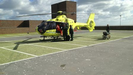 A man who was thrown by a horse was taken to hospital by air ambulance.