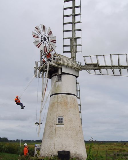 Soft toy and human abseilers helped raise a good sum for Thurne Mill