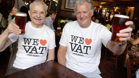 Wetherspoon chairman Tim Martin, right, and VAT cut campaigner Jacques Borel.