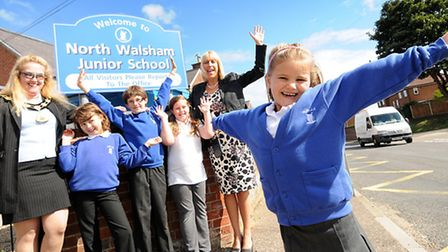 North Walsham Junior School celebrate being removed from Ofsted's Special Measures list. Left to ri