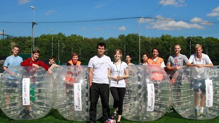 New business, Zoccer UK, has been launched in Norwich. (Left to right) Adam Sturman, Paul Drake, Tob