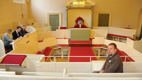 The refurbished court in the Shirehall. Defendant James Blomfield Rush in the dock, played by Michae