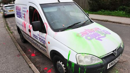 Trick or treaters have vandalised a van belonging to Carlton Cleaning,covering it in green and red paint and eggs.